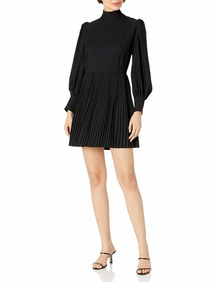 The Kooples Women's Women's Short Dress with Pleated Skirt and Long Puffy Sleeves with Cuffs