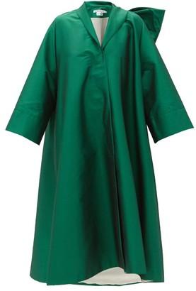BERNADETTE Christian Bow-back Taffeta Coat - Green