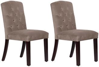 One Kings Lane Set of 2 Lea Tufted Side Chairs - Smoke Velvet - frame, espresso; upholstery, smoke