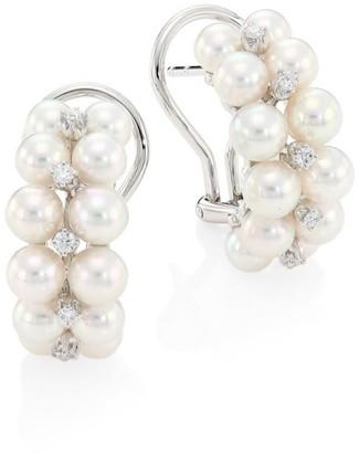 Mikimoto 4.5MM-4MM White Round Akoya Pearl Diamond 18K White Gold Earrings