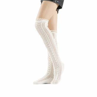 Viennar Women's Elegant Knitted Stockings Knee Socks Cable Knit Thigh High Boot Socks