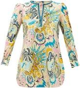 Le Sirenuse Le Sirenuse, Positano - Kate Psycho-print Cotton Tunic Top - Womens - Yellow Multi