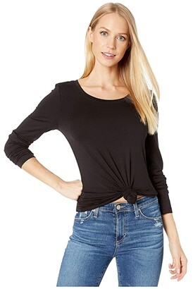 Michael Stars Lightweight Viscose Long Sleeve Crew Neck Tee (Black) Women's Clothing
