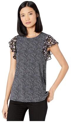 MICHAEL Michael Kors Boutique Bloom Ruffle Top (Orchid Haze) Women's T Shirt