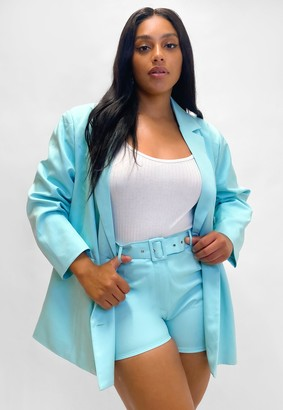 Missguided Plus Size Turquoise Co Ord Belted Tailored Shorts