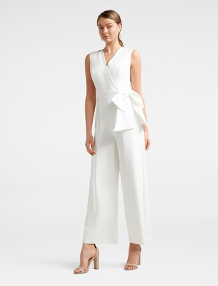 Forever New Viola Sleeveless Tux Bow Jumpsuit - Porcelain - 4