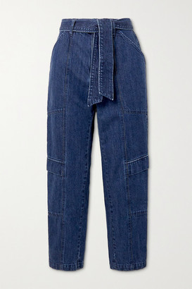 J Brand Athena Belted High-rise Tapered Jeans - Blue