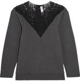 Stella McCartney Lace-paneled Cotton-blend Jersey Sweatshirt - Dark gray
