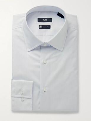 HUGO BOSS Sky-Blue Travel Line Slim-Fit Striped Cotton Shirt