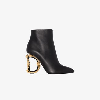 Dolce & Gabbana black 105 Baroque logo heel leather ankle boots