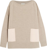 Chinti and Parker Faux suede-paneled merino wool sweater