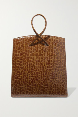 Little Liffner Twisted Croc-effect Leather Tote - Brown
