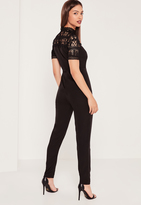 Missguided Lace Short Sleeve Crepe Romper Black