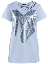 Twin-Set Twinset White Color T-shirt With Silver Diamond Heart