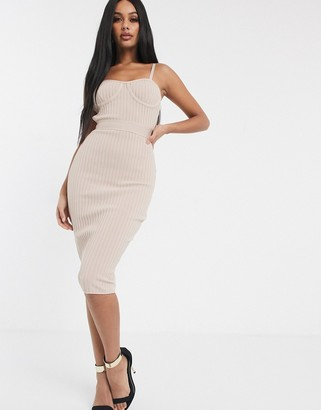 Band Of Stars bandage ribbed midi pencil dress with cage back in biscuit