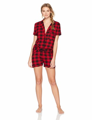 The Slumber Project Women's Short Sleeves Button Down Tee and Shorts Pajama Set (X-Large) - Red