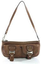 MICHAEL Michael Kors Brown Leather Silver Tone Single Strap Baguette Handbag