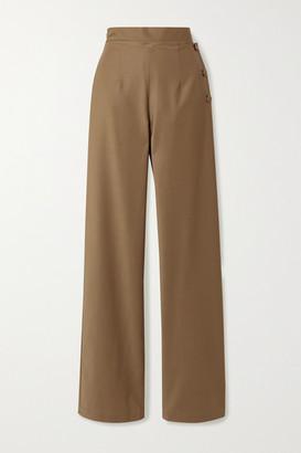 MATÉRIEL Fold-over Stretch Wool-blend Wide-leg Pants - Sand