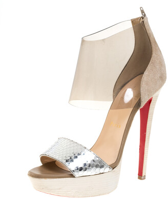 Christian Louboutin Metallic Silver Python Leather and PVC Dufoura Platform Sandals Size 38