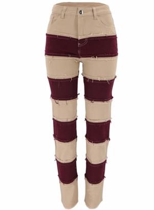 CORAFRITZ Women's High Rise Fashion Distressed Patchwork Jeans Wide Leg Pants Denim Jeans Blue