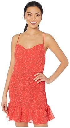 American Rose Merritt Polka Dot Smocked Dress (Red/White) Women's Dress