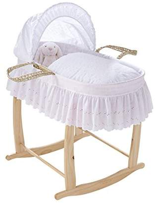 Clair De Lune Traditional Broderie Anglaise Palm Moses Basket with Skirt inc. bedding, mattress & adjustable hood (White)