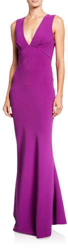 Sachin + Babi Danalyn V-Neck Bow-Bow Sleeveless Stretch Crepe Column Dress