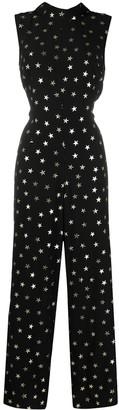 Rixo Star-Print Reverse-Collar Jumpsuit
