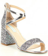 Betsey Johnson Blue by Lane City Glitter & Foil Metallic Block Heel Dress Sandals