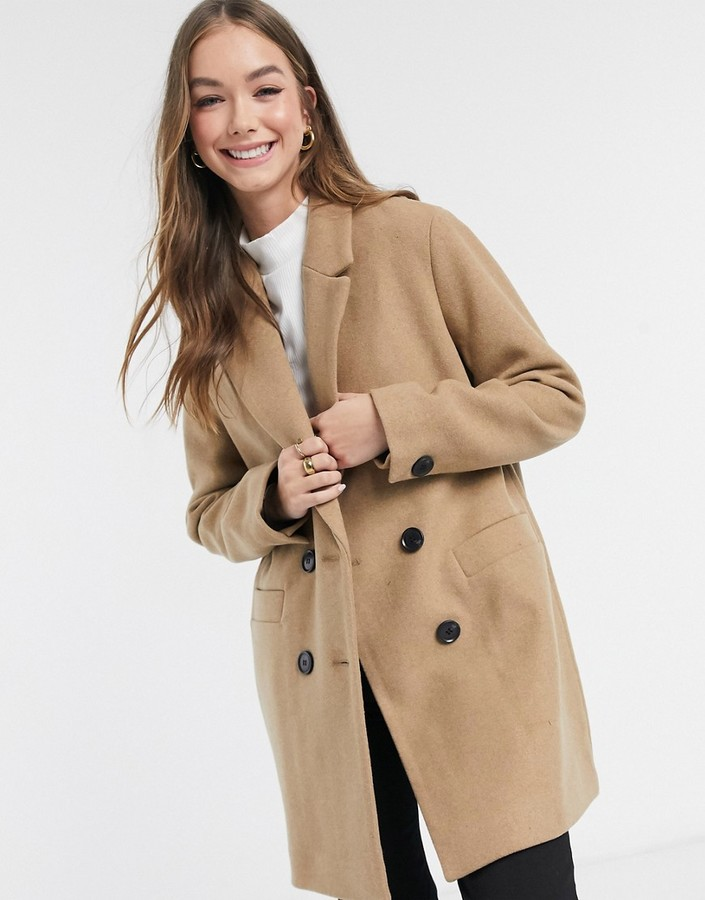 Camel Oversized Pocket Longline Teddy Borg Coat from I Saw It First on 21 Buttons