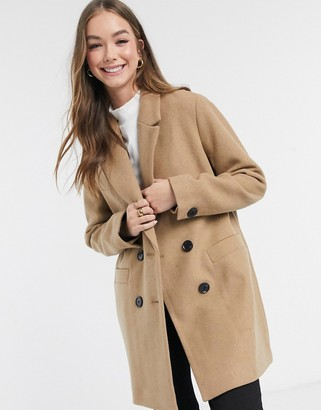 Pimkie double breasted tailored coat in camel