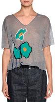 Giorgio Armani Floral-Embroidered V-Neck Tee, Mauve
