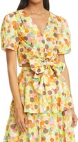Thumbnail for your product : Milly Marilyn Watercolor Bubble Tie Front Blouse