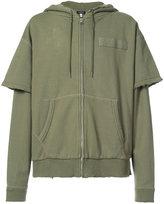 R 13 layered sleeve zip hoodie