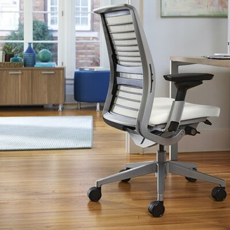 Steelcase Think Executive Chair Upholstery: Elmosoft Leather - Mica (L114), Frame Finish: Seagull (7243)