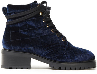 Sandro Quilted Velvet Ankle Boots