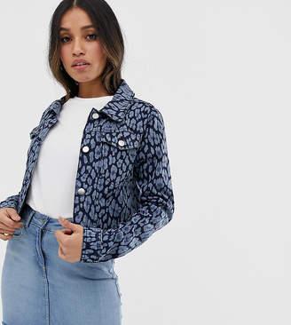 Brave Soul Petite floral denim jacket-Blue