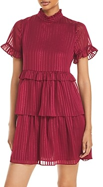 Aqua Tonal Metallic Stripe Tiered Dress - 100% Exclusive