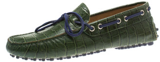 Etro Green Croc Embossed Leather Bow Loafers Size 41