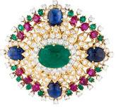 David Webb Diamond, Emerald, Ruby & Sapphire Brooch