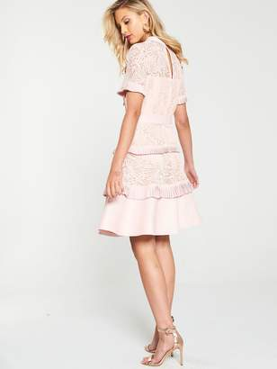 Very Tiered Lace Skater Dress - Pink