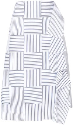 Victoria Beckham Striped Ruffle Skirt