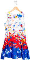 Milly Minis Girls' Abstract Print Bow-Adorned Dress