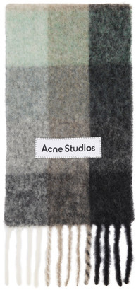 Acne Studios Green and Grey Alpaca and Mohair Large Check Scarf