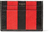 Balenciaga Bazar Striped Textured-leather Cardholder - Red