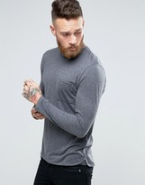 Selected Longline Long Sleeve Top with Pocket