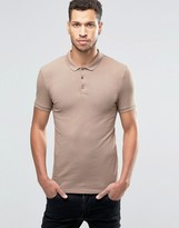Asos Extreme Muscle Jersey Polo In Beige