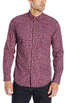 Calvin Klein Jeans Men's Micro Floral Long Sleeve Button Down Shirt