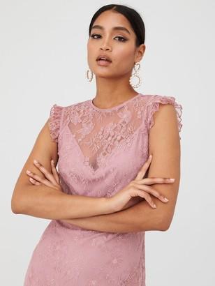 Little Mistress Lace Maxi Dress - Blush