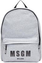 MSGM Grey Jersey Logo Backpack